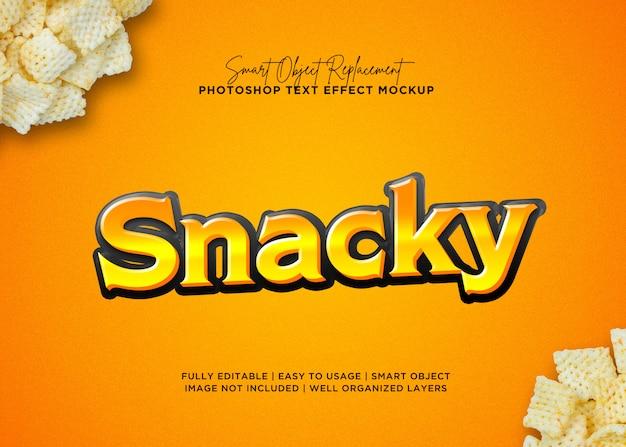 Efecto de texto de snack estilo 3d