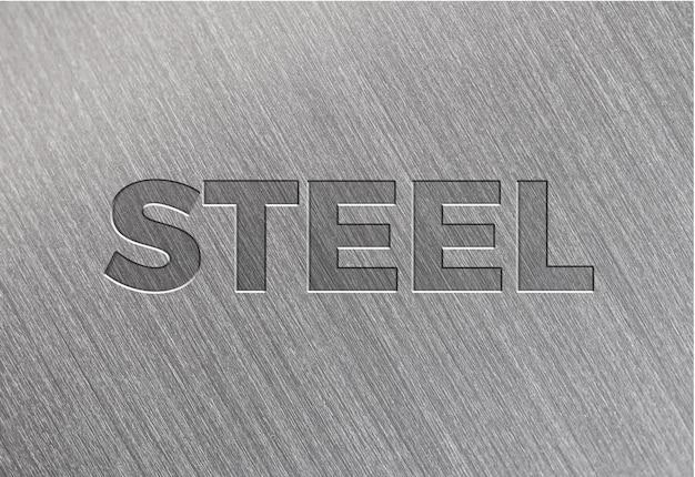 Efecto de texto de textura de acero cepillado