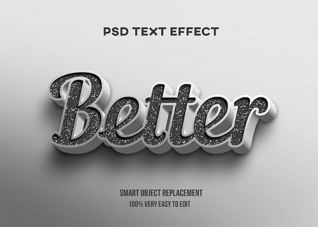 Efecto de texto de textura blanco negro