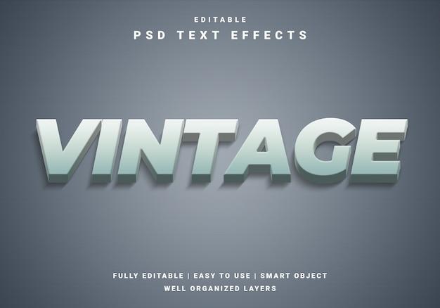 Efecto de texto vintage 3d moderno