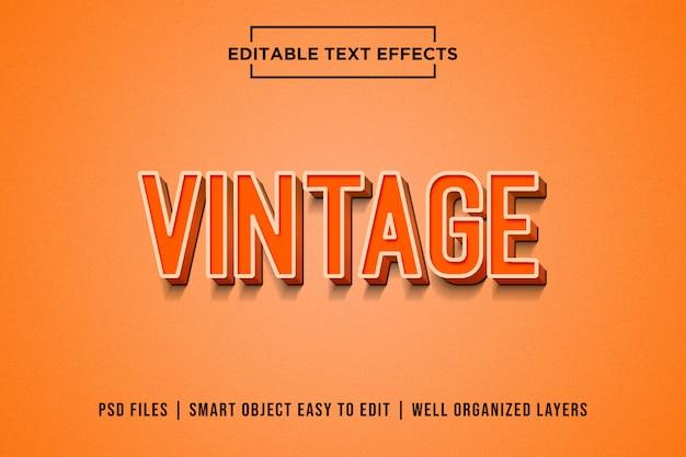 Efecto de texto vintage naranja