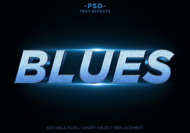 Efectos de brillo de blues 3d texto editable