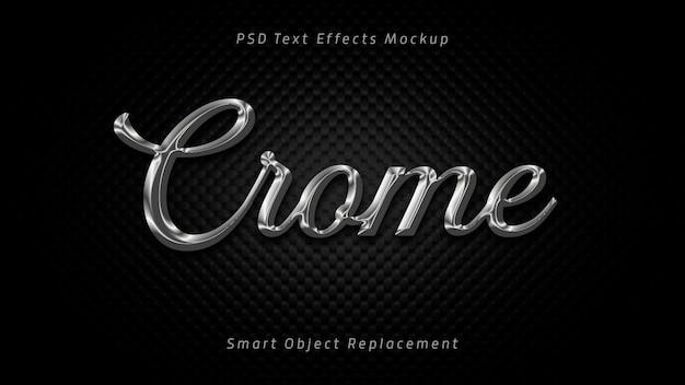 Efectos de texto 3d de crome