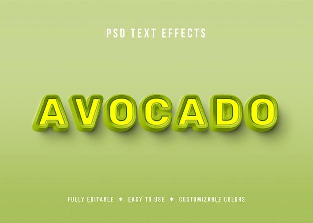 Efectos de texto de aguacate 3d con sabor verde