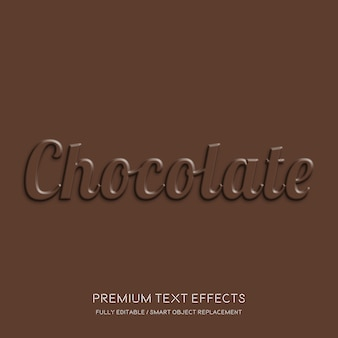 Efectos de texto de chocolate