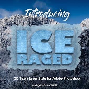 Efectos de texto de estilo de capa de photoshop 3d de hielo congelado