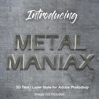 Efectos de texto del estilo de la capa de photoshop 3d metal iron chrome