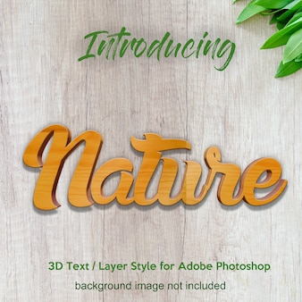 Efectos de texto de estilo de capa de photoshop de tablero de madera de madera 3d