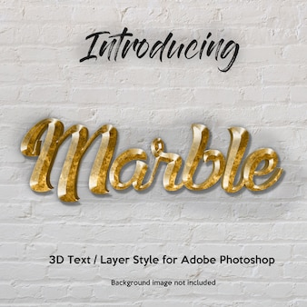 Efectos de texto de estilo de capa de photoshop con textura de granito de mármol 3d