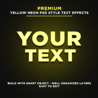 Efectos de texto de estilo neón amarillo