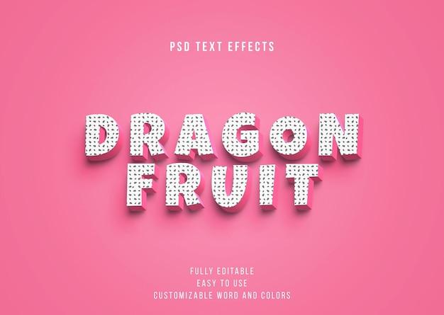 Efectos de texto de fruta del dragón editables en 3d