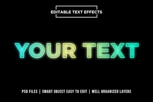 Efectos de texto premium de luces de neón coloridas