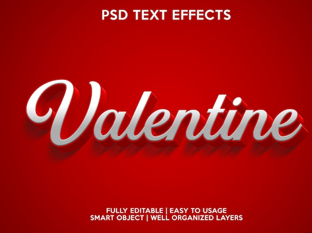 Efectos de texto de san valentín