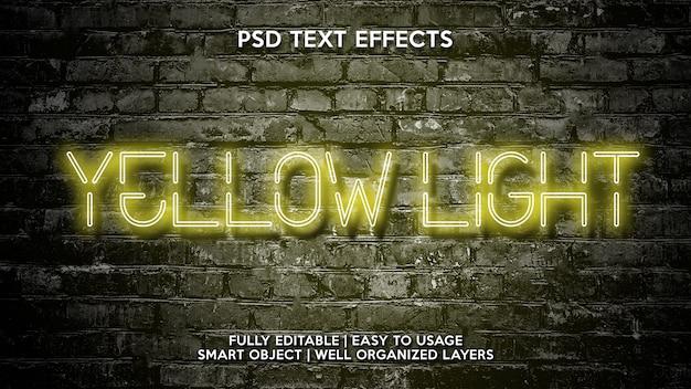 Effetti di testo a luce gialla
