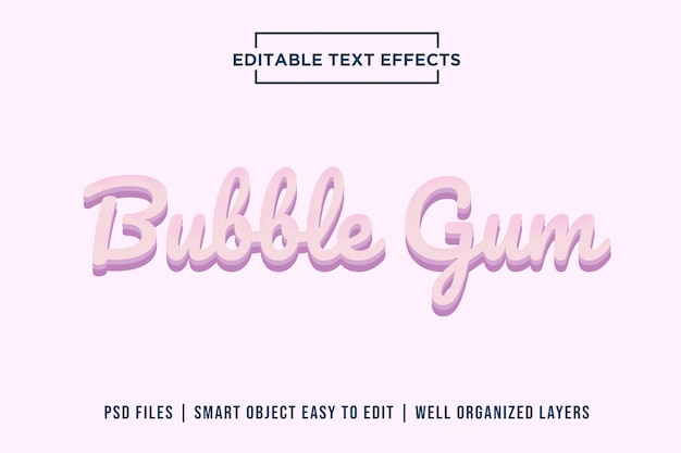 Effetti di testo bubble gum