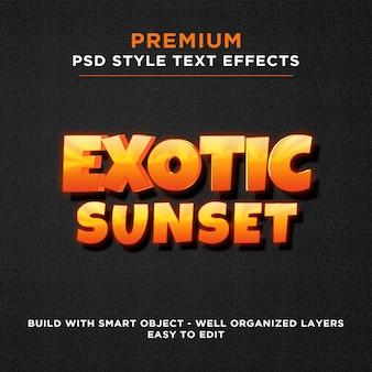 Effetti di testo giallo arancio esotici al tramonto