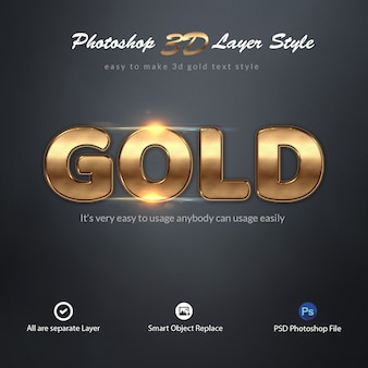 Effetti di testo in stile 3d gold photoshop layer