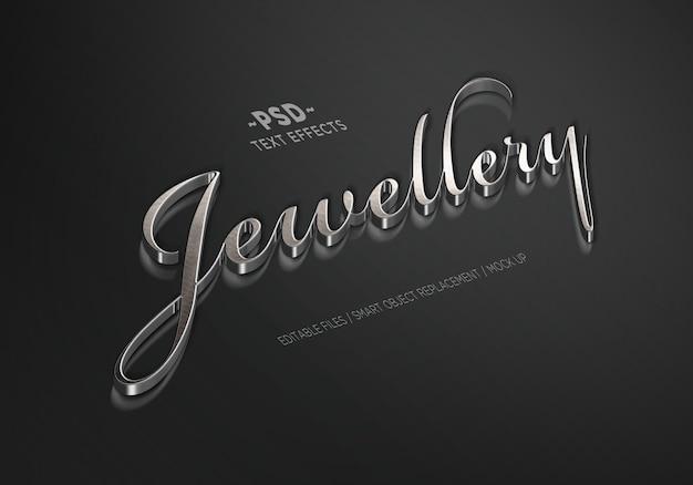 Effetti di testo modificabili stile argento gioielli
