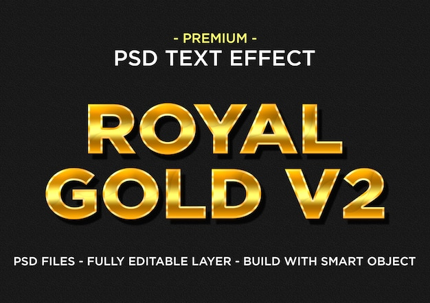 Effetti di testo psd di photoshop gold royal v2 premium