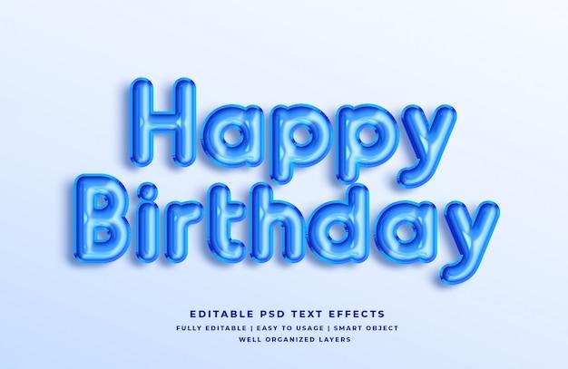 Effetto blu di stile del testo 3d di buon compleanno