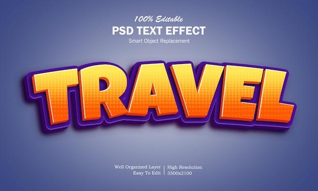 Effetto del testo di titolo del fumetto di viaggio 3d