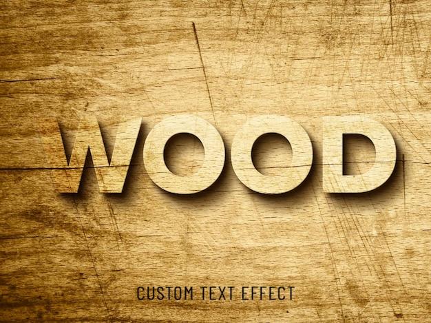Effetto di legno stile carattere mockup 3d