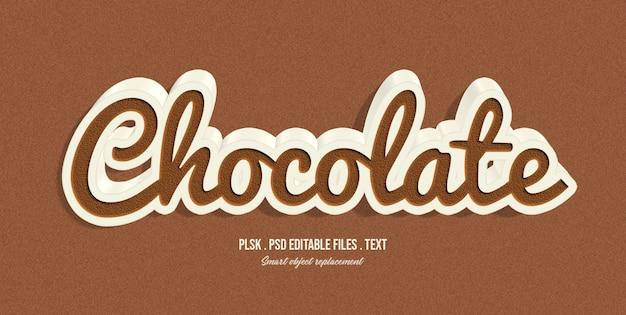 Effetto di stile del testo 3d al cioccolato