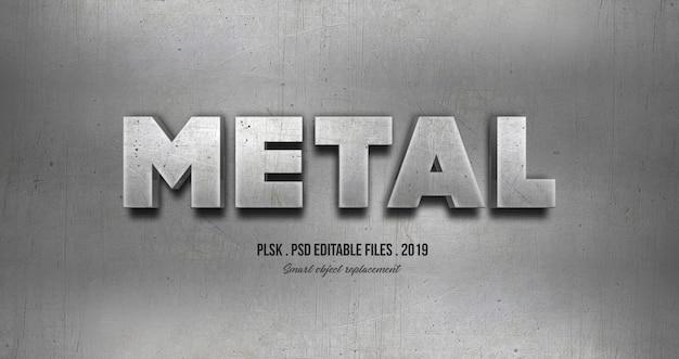 Effetto di stile del testo 3d in metallo