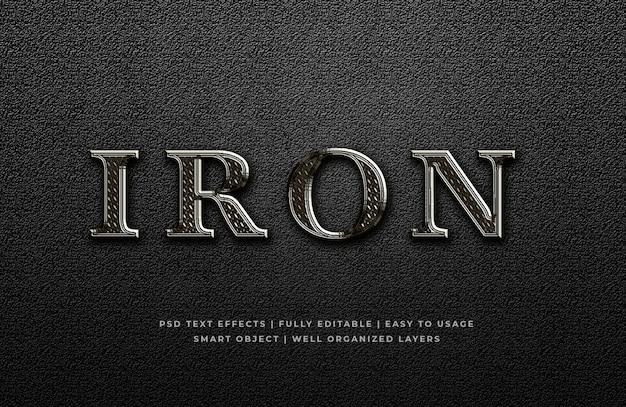 Effetto di stile del testo del metallo 3d del ferro