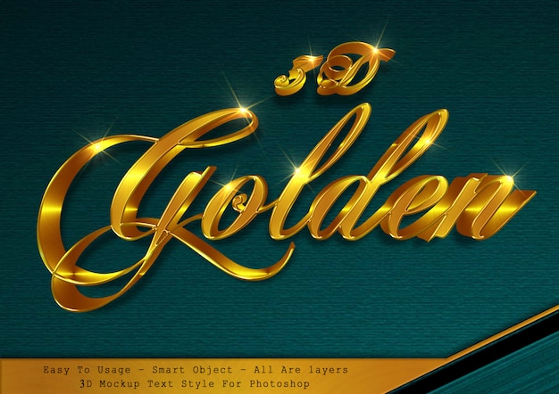 Effetto di stile del testo dell'oro 3d