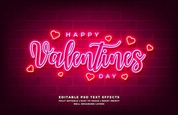 Effetto di stile del testo della luce al neon 3d felice di san valentino