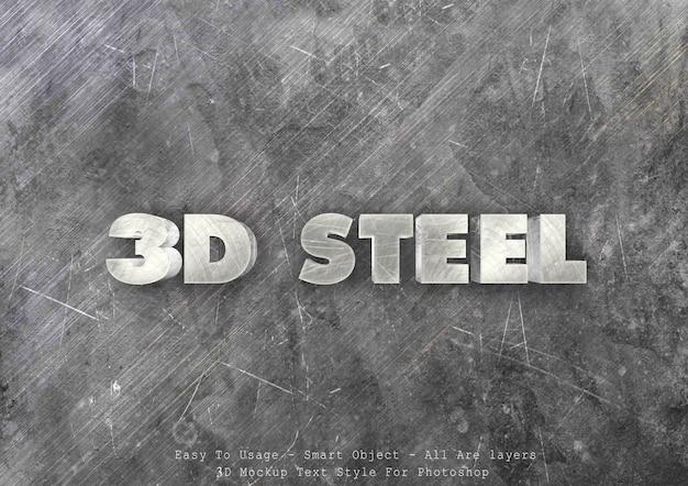 Effetto di stile del testo in acciaio 3d