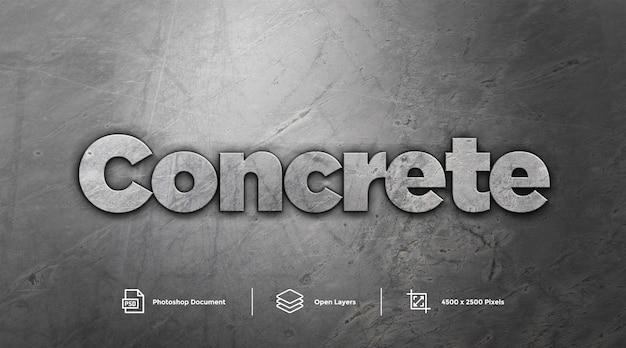 Effetto di stile di gray concrete text effect design photoshop layer