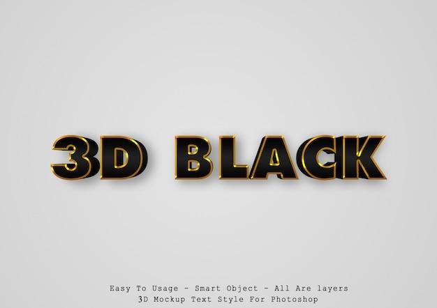 Effetto di stile di testo nero 3d