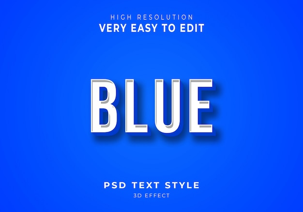 Effetto di testo 3d blu