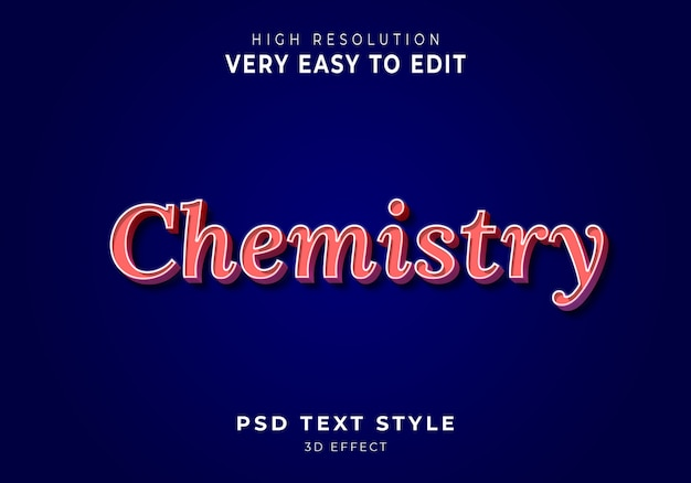 Effetto di testo 3d di chimica