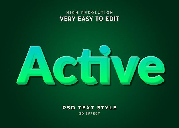 Effetto di testo 3d moderno attivo