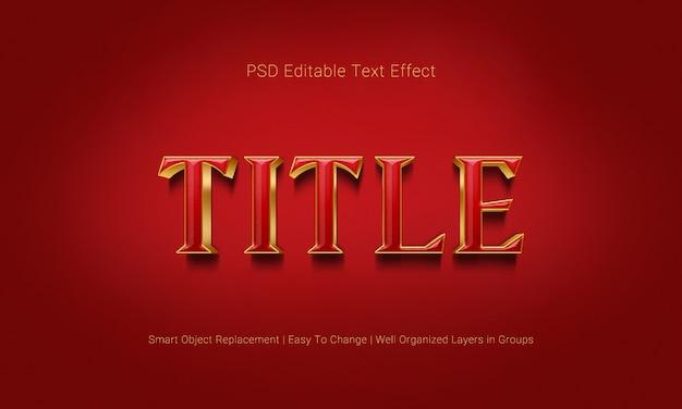 Effetto di testo 3d modificabile premium in combinazione di colori rosso e oro di lusso e ombreggiatura realistica