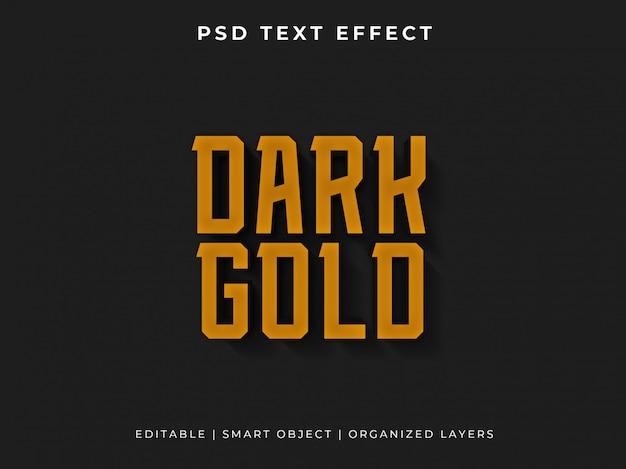 Effetto di testo 3d oro scuro