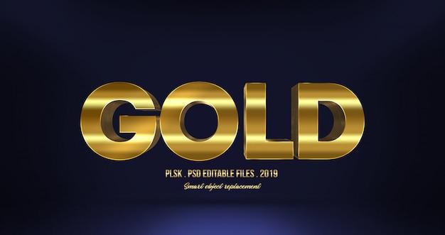 Effetto di testo 3d realistico in oro