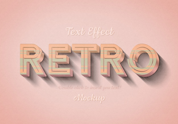 Effetto di testo 3d retrò con strisce rosa e blu