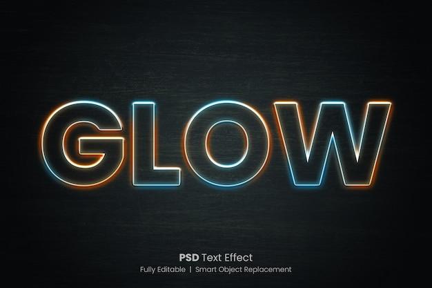 Effetto di testo di contorno incandescente multi colore