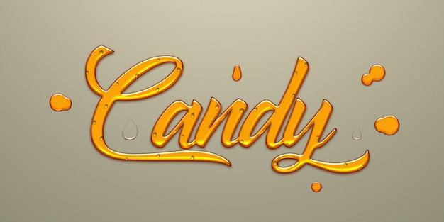 Effetto di testo dorato candy