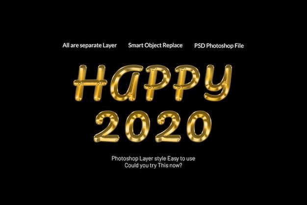 Effetto dorato creativo moderno 3d di stile del testo del buon anno 2020