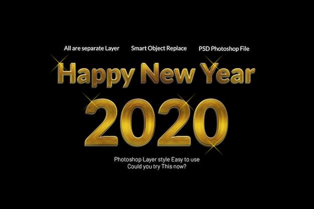 Effetto dorato moderno moderno creativo di stile del testo 3d del buon anno 2020