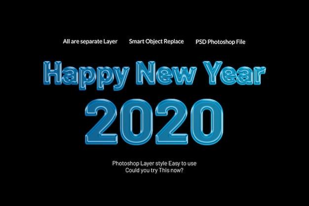 Effetto moderno creativo di stile del testo della caramella 3d del buon anno 2020