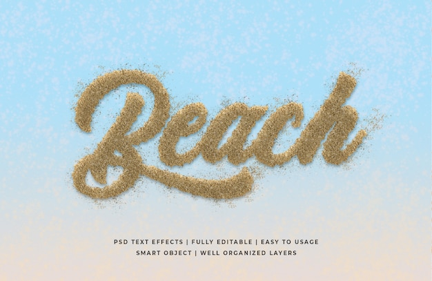 Effetto spiaggia stile testo 3d