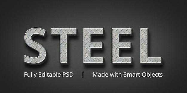 Effetto stile testo modificabile in acciaio