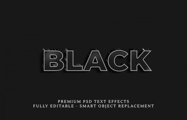 Effetto testo nero stile psd, effetti testo psd premium