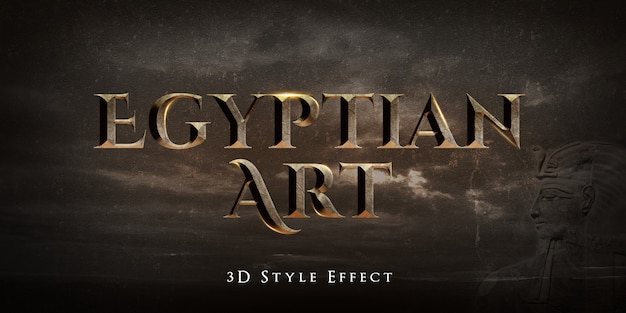 Egyptian art 3d text style effect